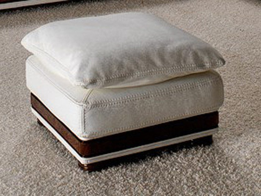 Square leather pouf CORNICHE | Pouf by Nieri