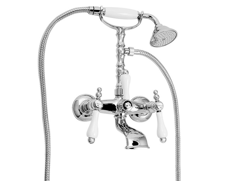 Wall-mounted bathtub tap with hand shower PRAGA - PRAGA CRYSTAL - F7500 by Rubinetteria Giulini
