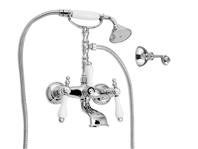 Wall-mounted bathtub tap with hand shower PRAGA - PRAGA CRYSTAL - F7501 by Rubinetteria Giulini