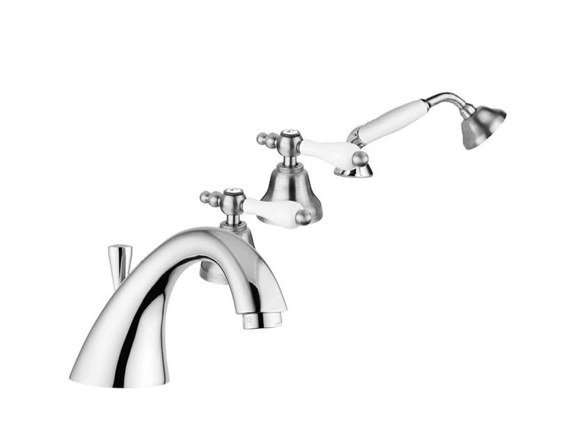 Deck mounted 4 hole bathtub tap with hand shower PRAGA - PRAGA CRYSTAL - F7565 by Rubinetteria Giulini