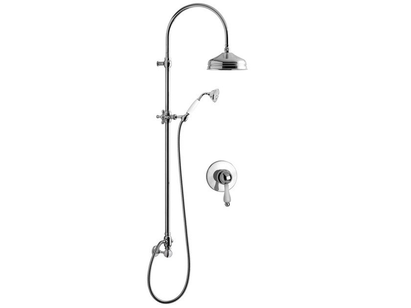 Wall-mounted shower panel with overhead shower PRAGAMIX - PRAGAMIX CRYSTAL - F7515WC-S by Rubinetteria Giulini