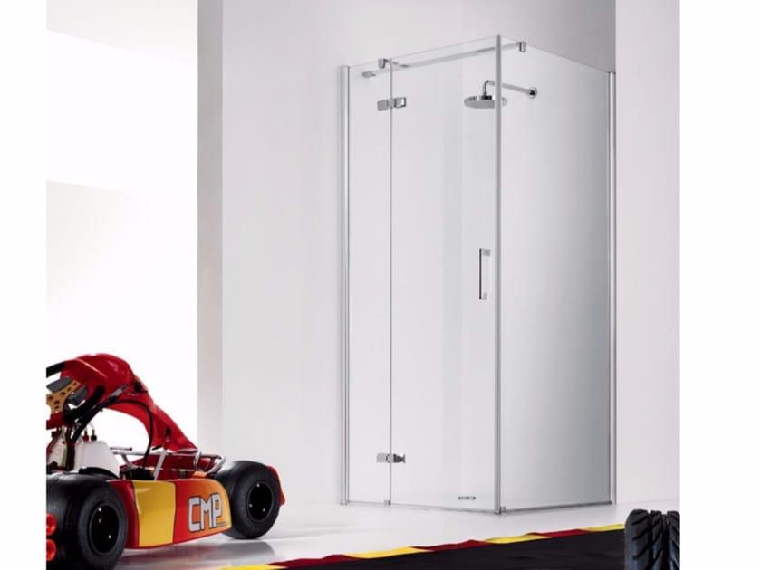 Box doccia in vetro con porte a battente e elemento fisso PRAIA DESIGN - 2 by INDA®