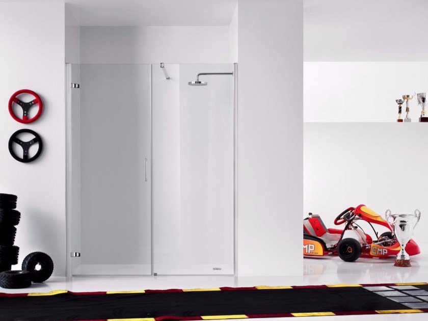 Niche shower cabin with hinged door and fixed element PRAIA DESIGN - 5 by INDA®