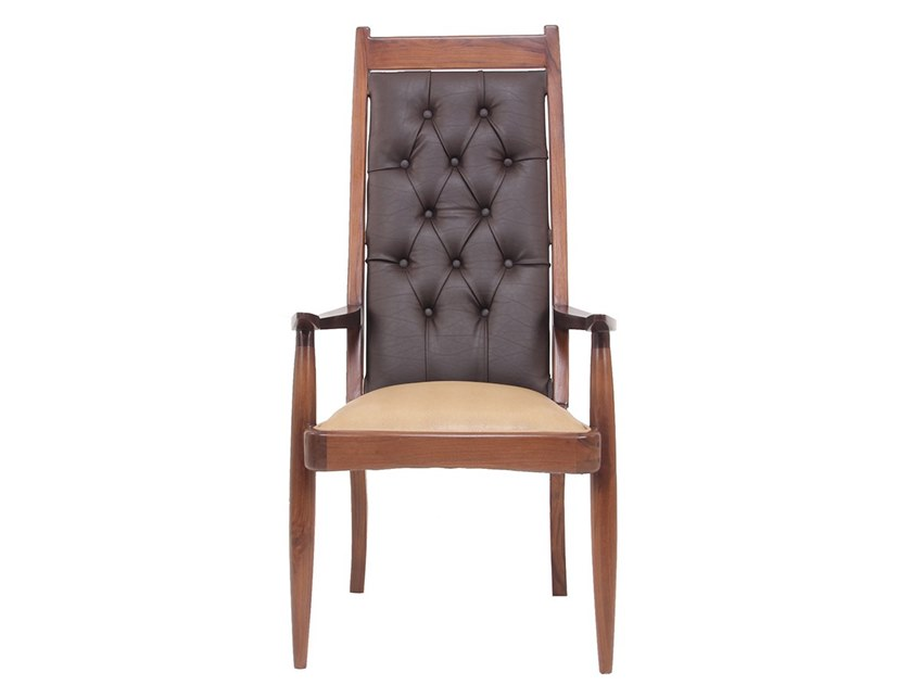 Leather chair with armrests PRANSHU   Chair with armrests by ALANKARAM