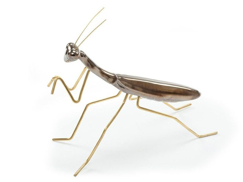 Contemporary style ceramic decorative object PRAYING MANTIS Gold by Mambo Unlimited Ideas