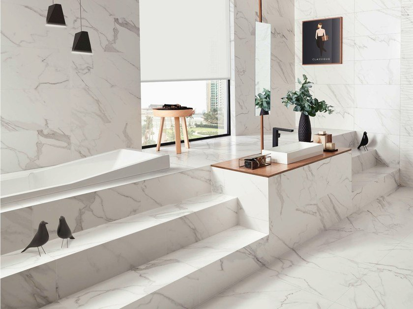 White-paste flooring with marble effect PRECIOUS | Flooring by Love Tiles