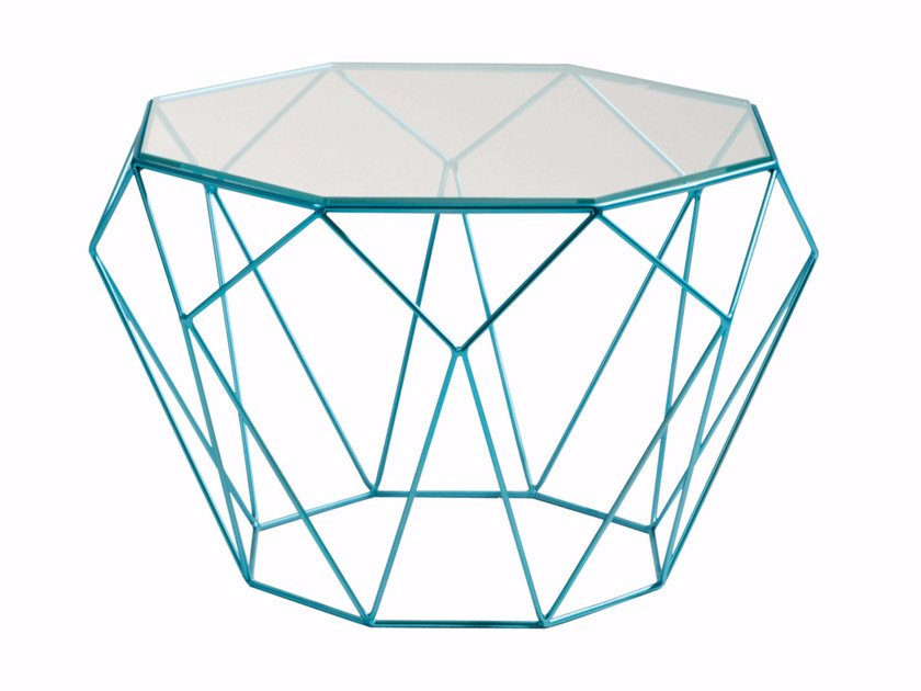 Octagonal glass and steel coffee table PRECIOUS by ROCHE BOBOIS
