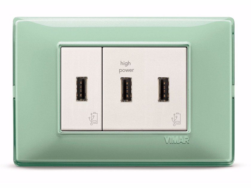 3-Module electrical outlet with USB 3-Module USB by VIMAR