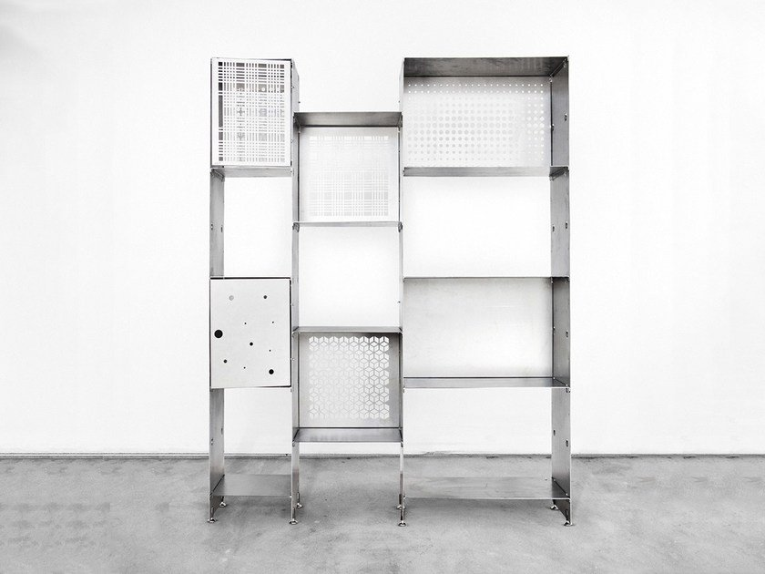 Sectional plate bookcase PRIMA A by Officine Tamborrino