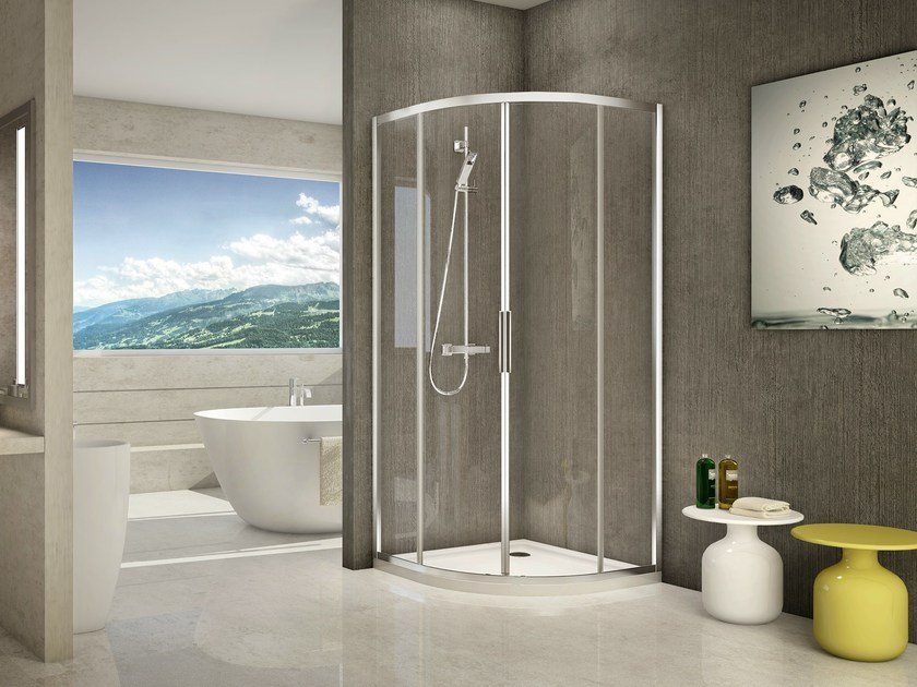 Corner semicircular glass and aluminium shower cabin STILA 2000 By Duka