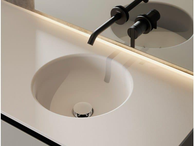 Round single Solid Surface washbasin with integrated countertop PRIME   Solid Surface washbasin by INBANI