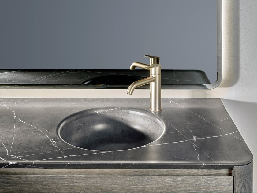 Round single marble washbasin with integrated countertop PRIME | Washbasin with integrated countertop by INBANI