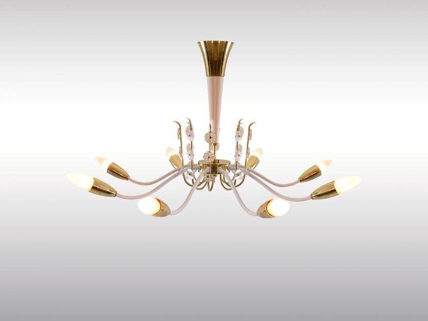 Classic style wood and glass pendant lamp PRINCESS by Woka Lamps Vienna
