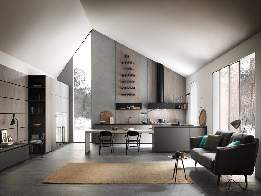 Kitchen with peninsula without handles ARES | Kitchen by Floritelli Cucine