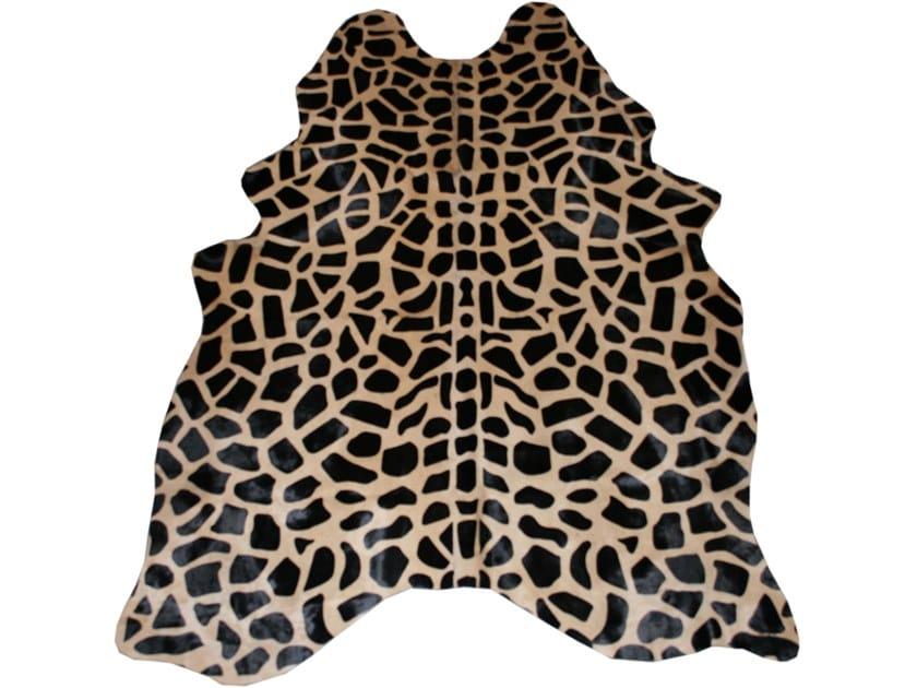 Handmade cowhide rug PRINTED GIRAFFE BROWN ON CAMEL by EBRU
