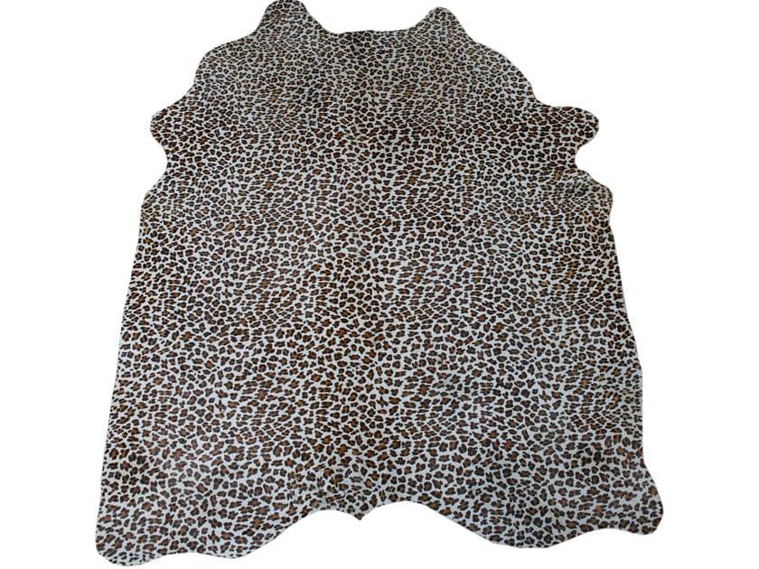 Handmade cowhide rug PRINTED LEOPARD BLACK/BROWN ON CAMEL by EBRU