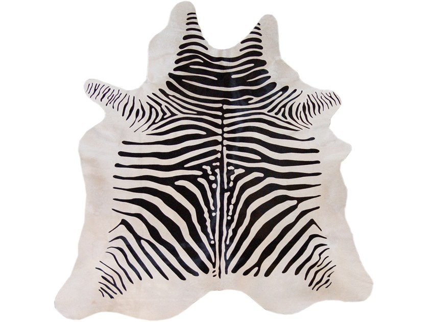 Handmade cowhide rug PRINTED ZEBRA BLACK ON WHITE by EBRU