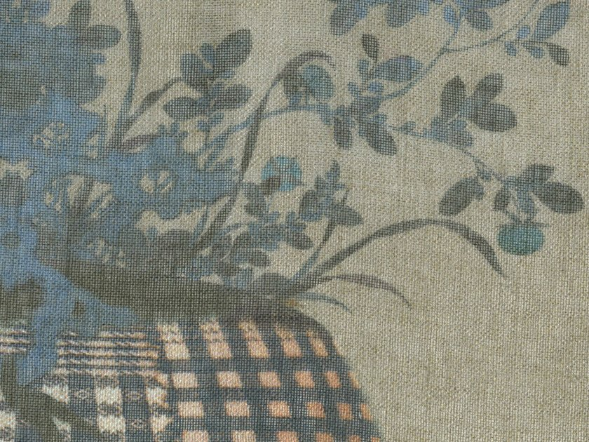 Linen fabric with floral pattern PRINTEMPS by KOHRO