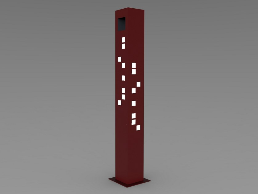 Steel bollard post with built-in light PRISMA LIGHT by CITYSì
