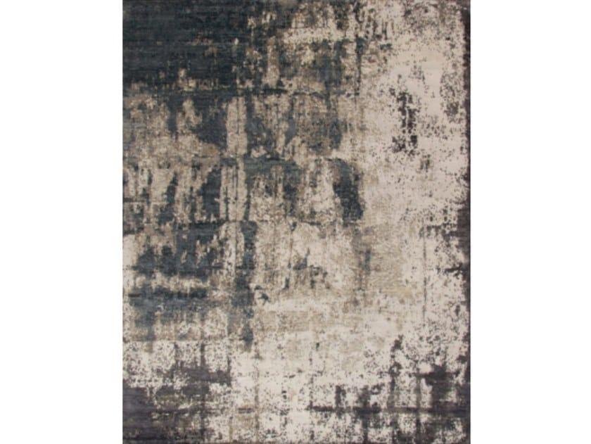 Patterned handmade rectangular Bamboo silk  and wool rug PRIVILEGE NATURAL AQUA by Kuatro