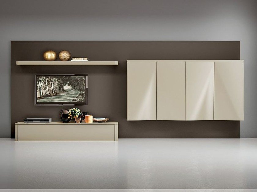 Wall-mounted lacquered storage wall LALTROGIORNO 804 by TUMIDEI