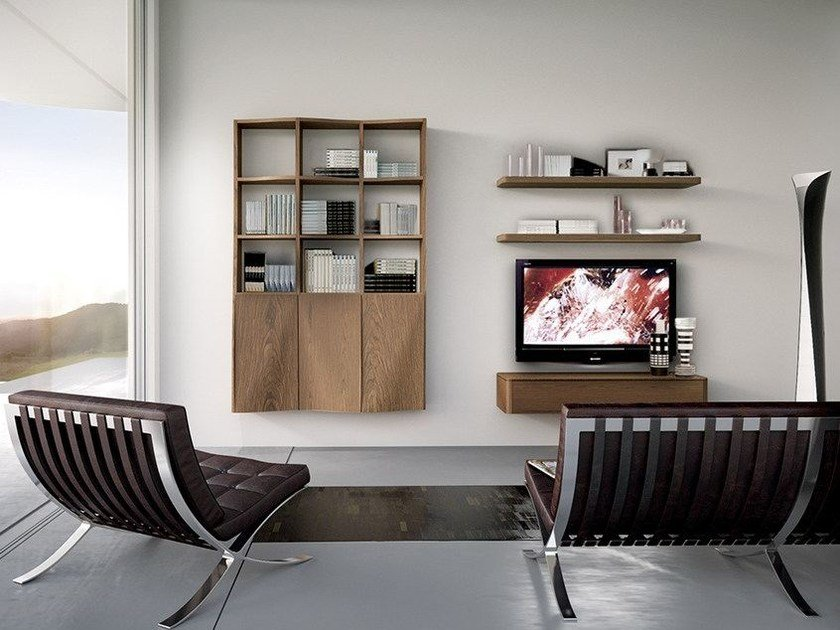 Sectional wall-mounted storage wall LALTROGIORNO 809 by TUMIDEI