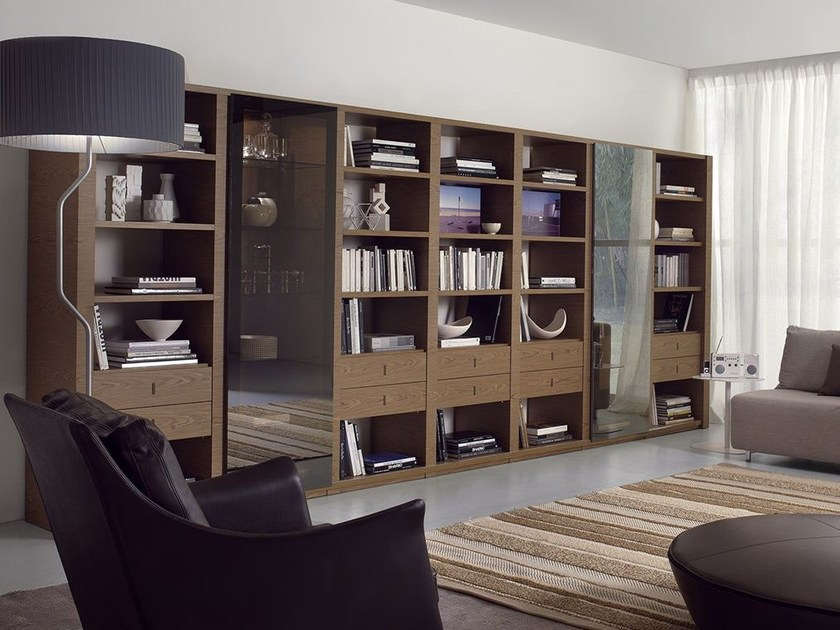 Wall-mounted bookcase with drawers LALTROGIORNO 815 by TUMIDEI