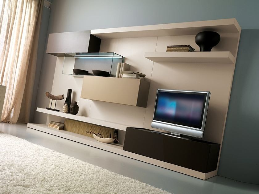 Lacquered TV wall system with integrated lighting LALTROGIORNO 818 by TUMIDEI