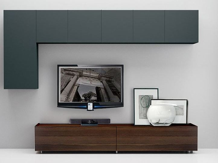 Wall-mounted lacquered storage wall LALTROGIORNO 838 by TUMIDEI