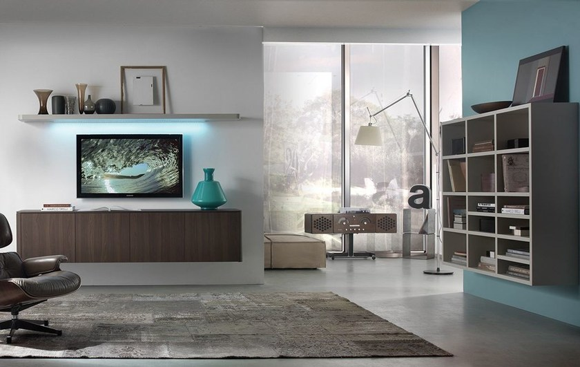 Sectional wall-mounted storage wall with integrated lighting LALTROGIORNO 839 by TUMIDEI
