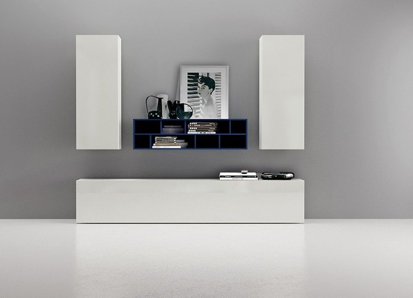 Sectional wall-mounted lacquered storage wall LALTROGIORNO 843 by TUMIDEI