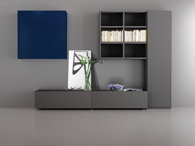 Wall-mounted lacquered storage wall LALTROGIORNO 844 by TUMIDEI