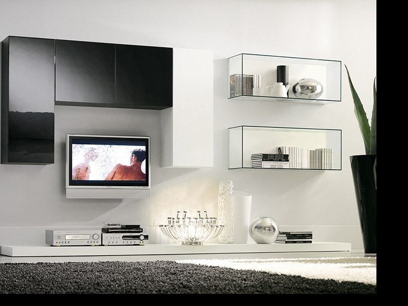 Sectional wall-mounted lacquered storage wall LALTROGIORNO 847 by TUMIDEI