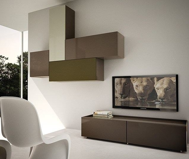 Sectional wall-mounted lacquered storage wall LALTROGIORNO 849 by TUMIDEI