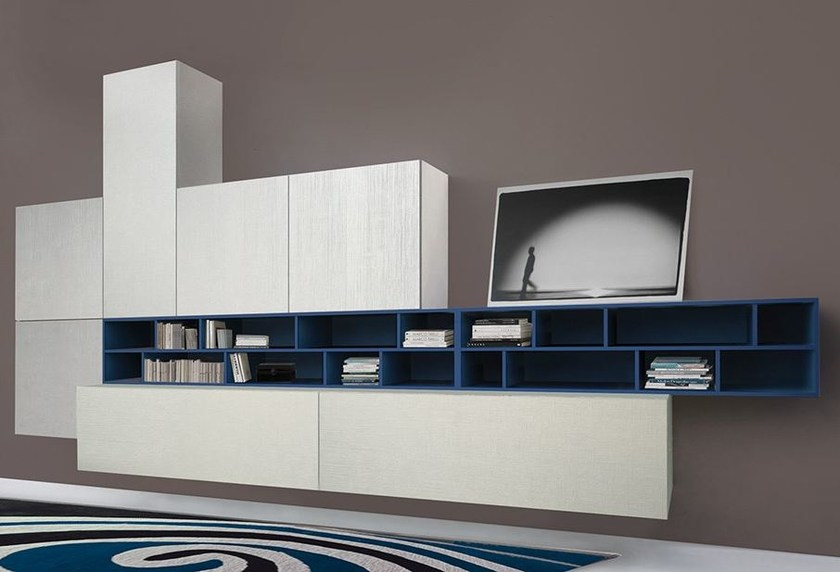 Wall-mounted storage wall LALTROGIORNO 852 by TUMIDEI