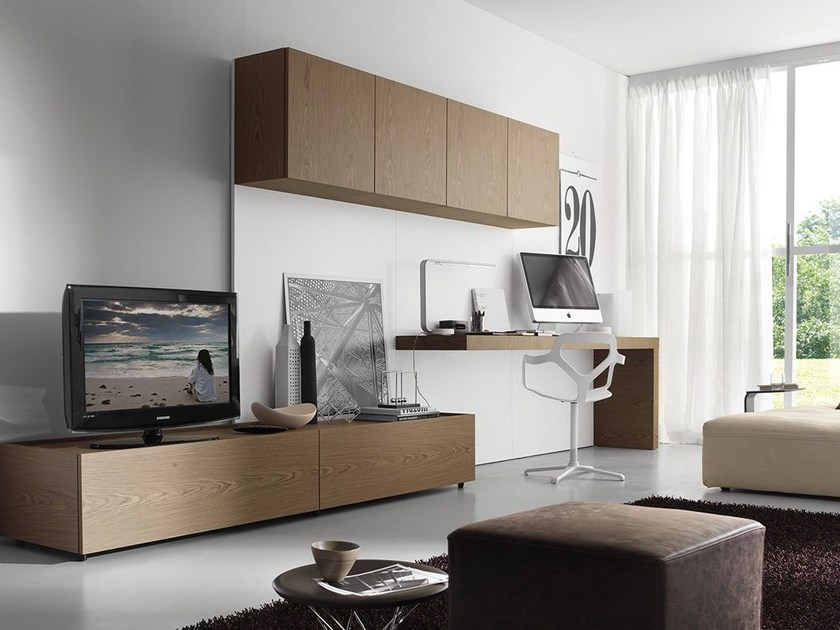 Wall-mounted storage wall with secretary desk LALTROGIORNO 854 by TUMIDEI