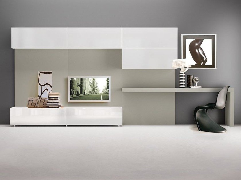 Lacquered TV wall system with secretary desk LALTROGIORNO 856 by TUMIDEI
