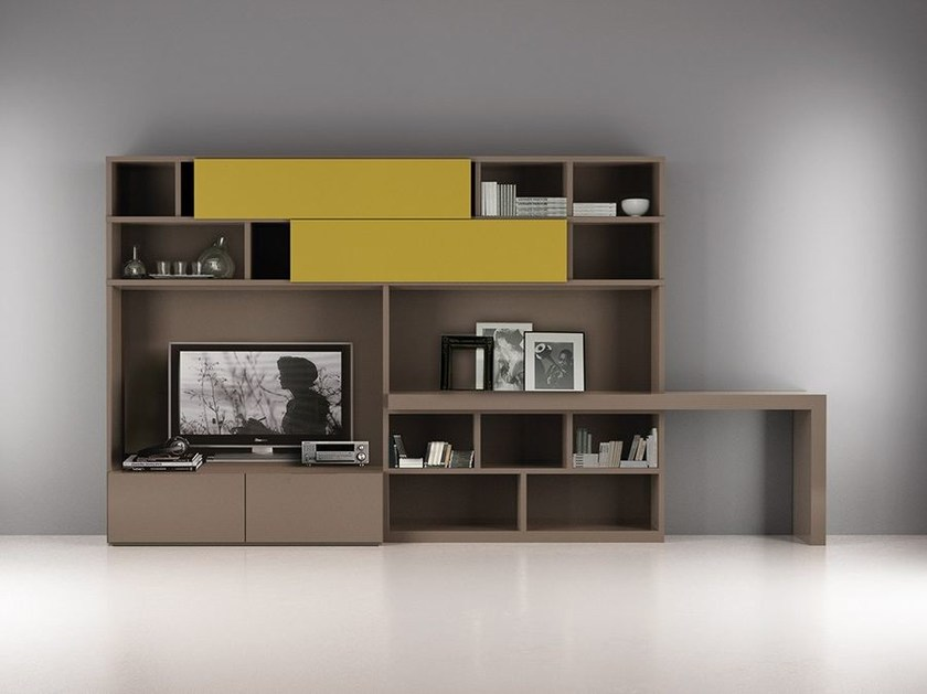 Lacquered TV wall system with secretary desk LALTROGIORNO 857 by TUMIDEI