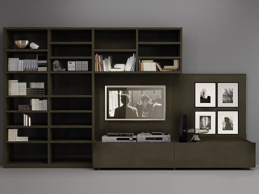 Wall-mounted lacquered TV wall system LALTROGIORNO 871 by TUMIDEI