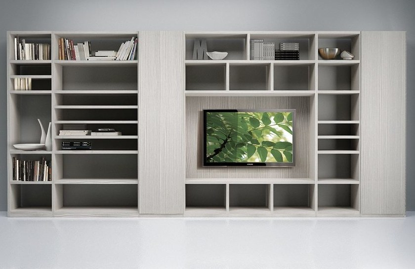 Wall-mounted TV wall system LALTROGIORNO 872 by TUMIDEI