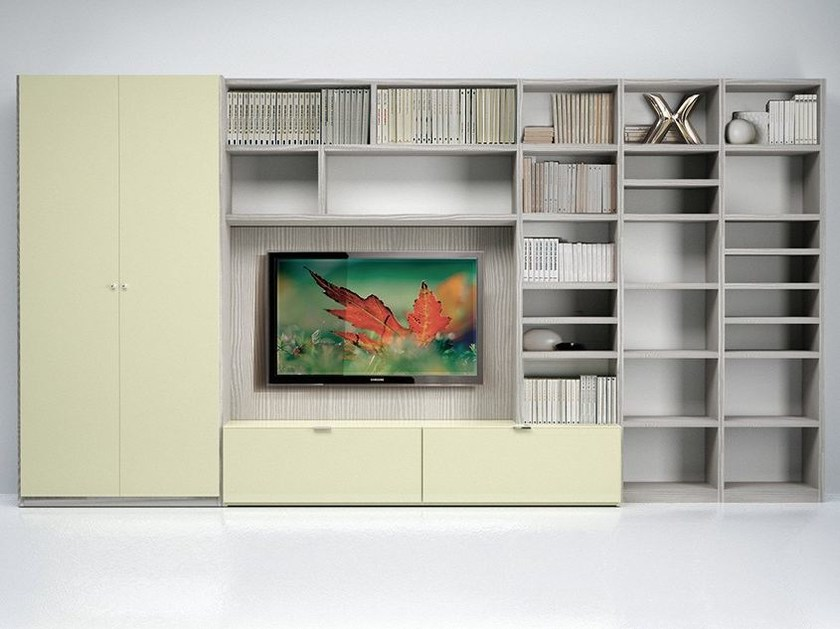 Wall-mounted TV wall system LALTROGIORNO 873 by TUMIDEI