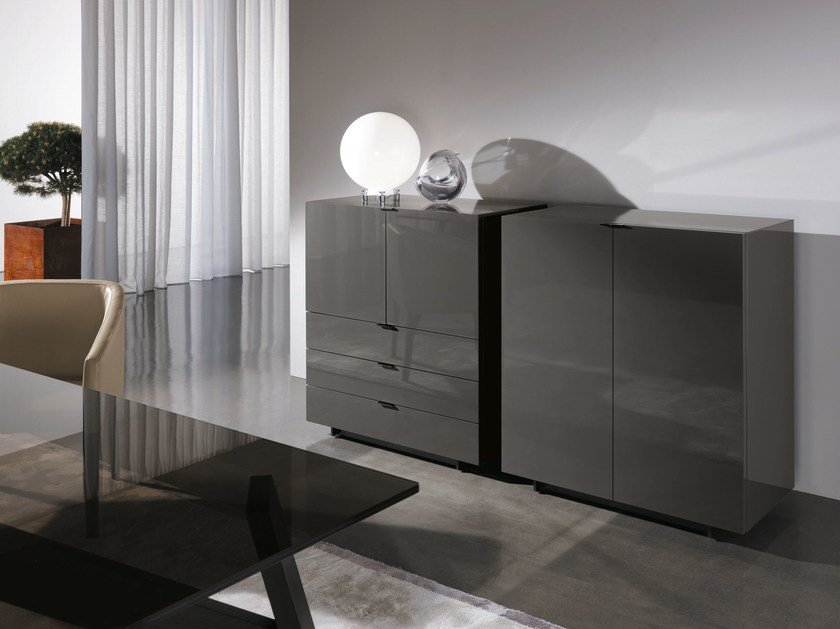 Lacquered highboard with doors with drawers HARVEY LINE | Highboard by Minotti