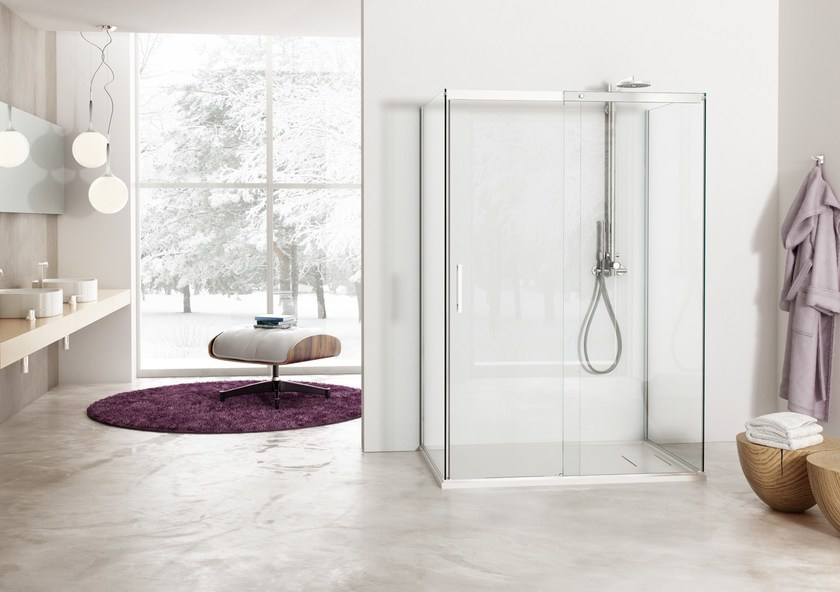 2 places shower cabin with sliding door SOLODOCCIA SLIDING A1S by MEGIUS