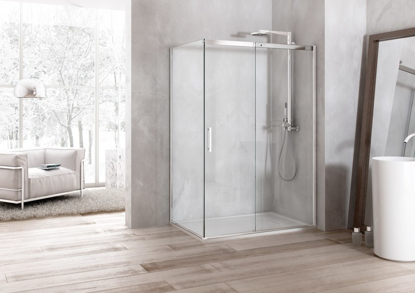 2 places corner shower cabin SOLODOCCIA PIVOT AB0 by MEGIUS