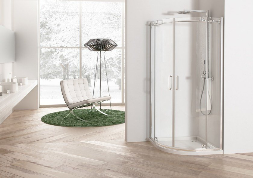 Corner shower cabin with hinged door SOLODOCCIA PIVOT R2B by MEGIUS