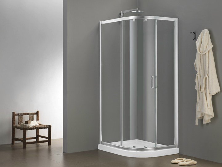 Corner glass shower cabin with sliding door MORE LIVE SWIM by MEGIUS