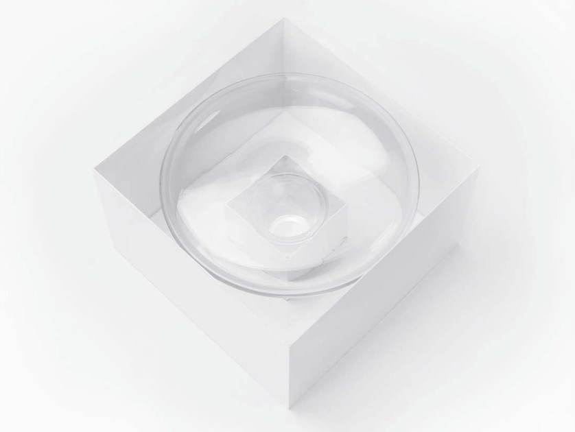 Low square blown glass coffee table INNERBLOW by Lasvit
