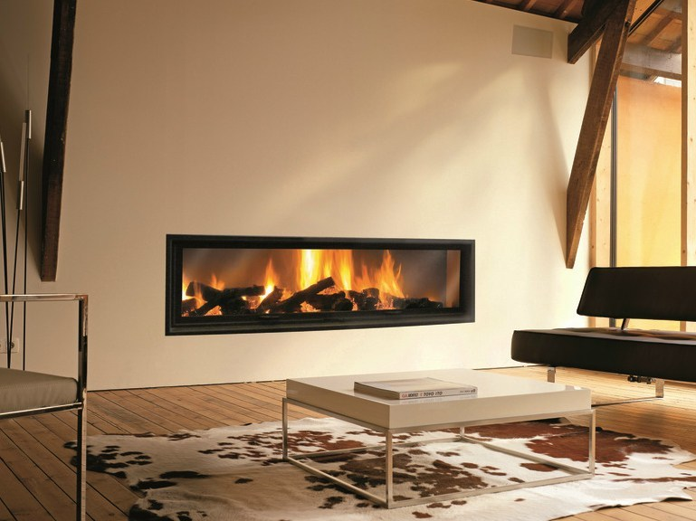 wood burning built in fireplace gigafocus by focus creation design dominique imbert. Black Bedroom Furniture Sets. Home Design Ideas