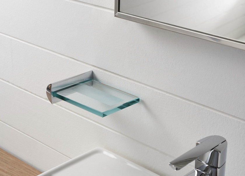 Wall-mounted glass soap dish TANGO | Soap dish by ZAZZERI