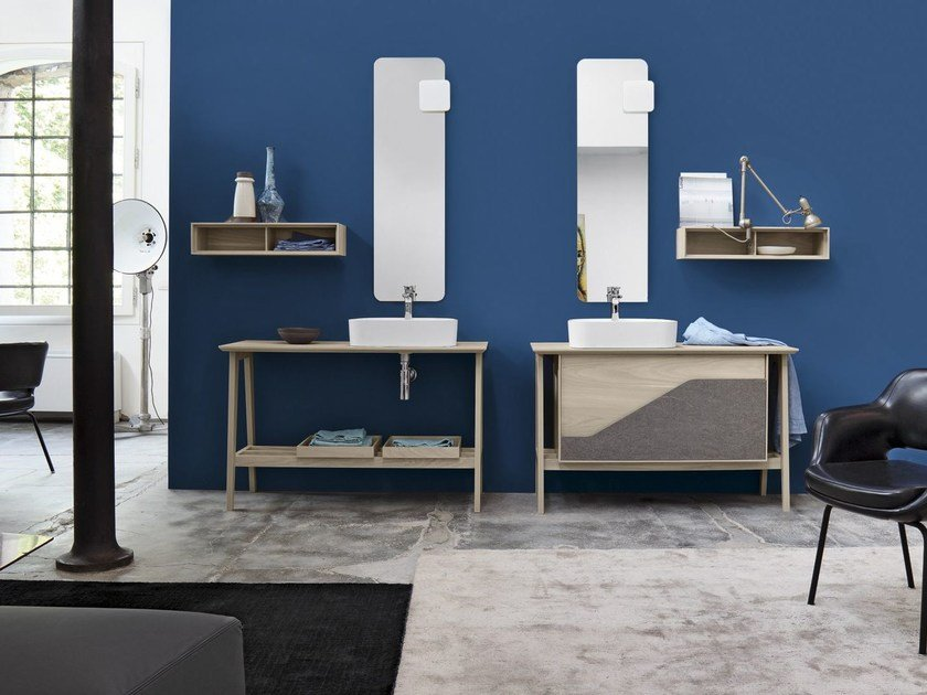 Wooden vanity unit with mirror FREE 46/47 by Cerasa